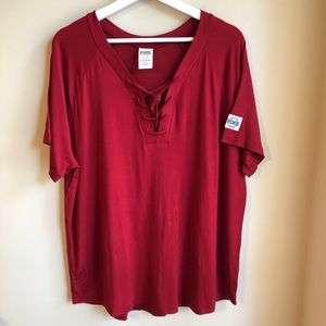 NWOT VS PINK Red Lace-Up T-Shirt